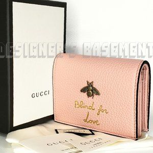 GUCCI PinkGold BEE Blind for Love MINI snap wallet